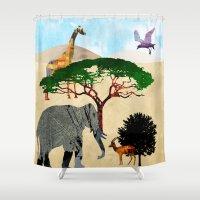 safari Shower Curtains featuring Safari by Design4u Studio