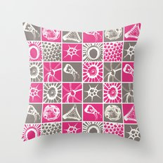 Microscopic Life Sillouetts Pink and Gray Throw Pillow