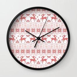 Christmas pattern. Cross-stitch Wall Clock