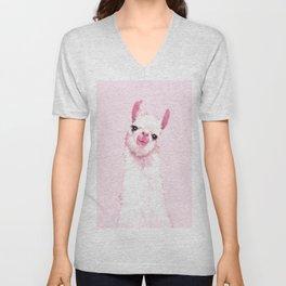 Llama Pink Unisex V-Neck