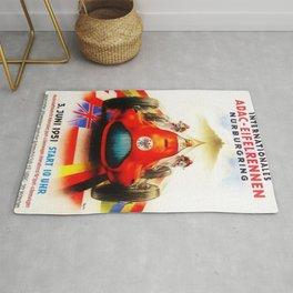 1951 Internationales ADAC Eifelrennen Grand Prix Motor Racing Nurburgring Vintage Poster Rug