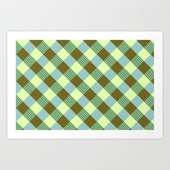 Retro Plaid Art Print