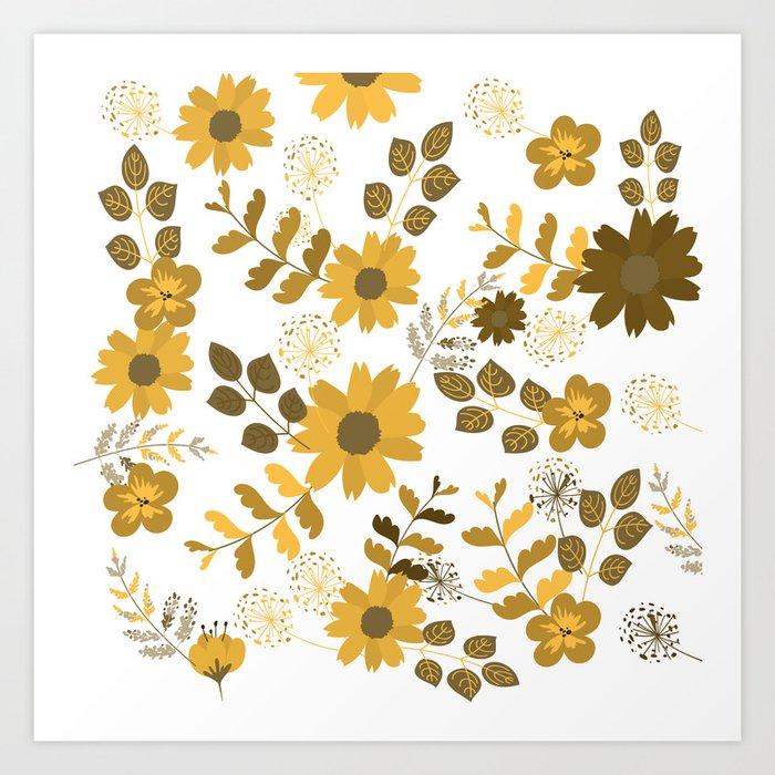Big Yellow and Brown Flowers Art Print