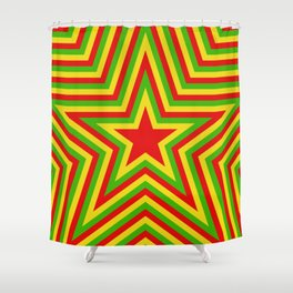 colorful concentric rasta star pattern Shower Curtain