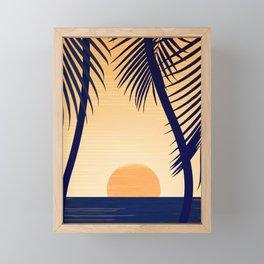 Retro Golden Sunset - Tropical Scene Framed Mini Art Print