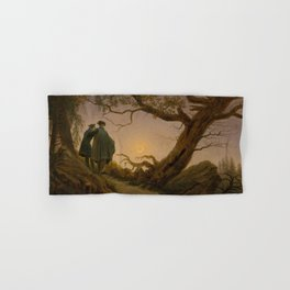 Caspar David Friedrich - Two Men Contemplating the Moon.jpg Hand & Bath Towel