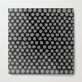 Gray Polka Dots on Black Pattern Metal Print