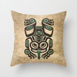 Teal Blue and Black Haida Spirit Tree Frog Throw Pillow