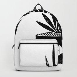 houseplant linocut aloe vera art botanical black and white lino printmaking art minimal modern Backpack