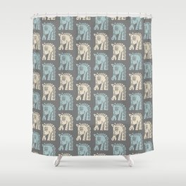Mid Century Horse Pattern Grey Blue and Beige Shower Curtain