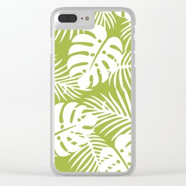 Olive Green Jungle Palm Leaves Pattern Clear iPhone Case