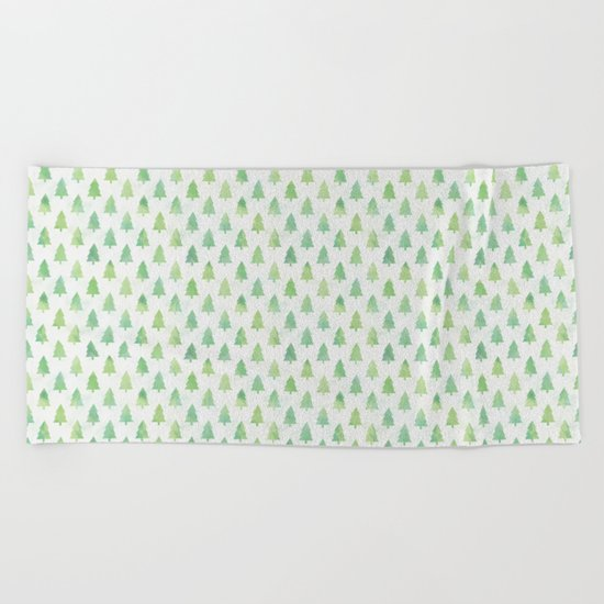 Simple Pine Tree Forest Pattern Beach Towel