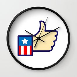 American Hand Thumbs Up Icon Wall Clock
