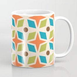 Mid Century Modern Abstract Star Dot Pattern 441 Orange Brown Turquoise Chartreuse Coffee Mug
