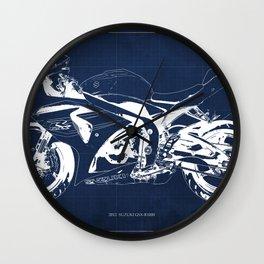 Motorcycle blueprint, 2012 Suzuki GSX-R1000, gift for men, valentine, plano de motocicleta Wall Clock