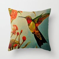ruby Throw Pillows featuring Ruby by FreeBird Studios