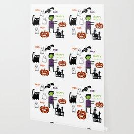 Cute Frankenstein and friends white #halloween Wallpaper