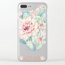 Cactus love Clear iPhone Case