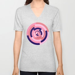 Spinning colourful rings on blue and pink chessboard Unisex V-Neck