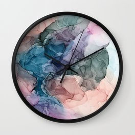 Heavenly Pastels 2: Original Abstract Ink Painting Wall Clock