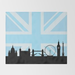 London Sites Skyline and Blue Union Jack/Flag Throw Blanket