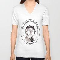 kafka V-neck T-shirts featuring Franz Kafka - Metamorphosis by politebastART