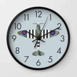 Spitfire WWII Fighter Aircraft - Grey Wall Clock