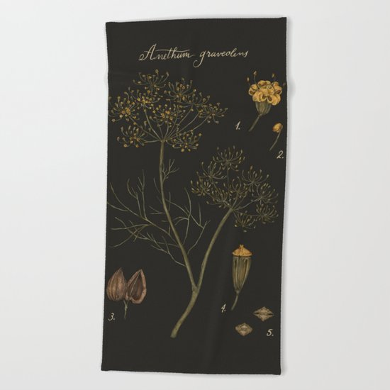 Dill (Dark Background) Beach Towel