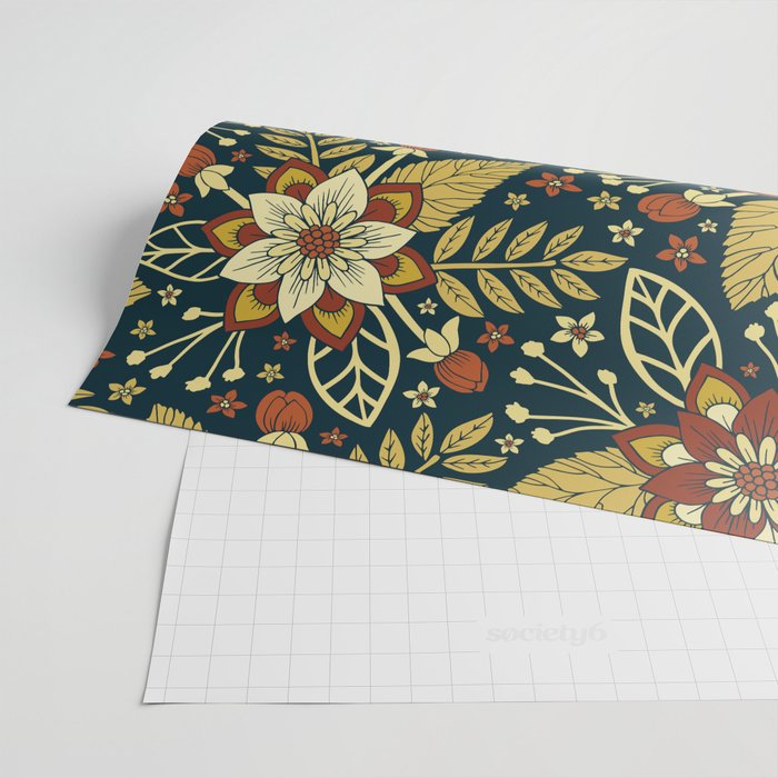 Gold, Rust, Cream & Dark Navy Blue Floral Pattern Wrapping Paper