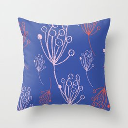 floral blue chalk contemporary Throw Pillow