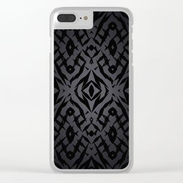Grey tribal shapes pattern Clear iPhone Case