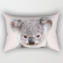 Baby Koala With Pink Background, Baby Animals Art Print By Synplus Rectangular Pillow