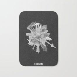 Berlin, Germany (Deutschland) Black and White Skyround / Skyline Watercolor Painting (Inverted Ver.) Bath Mat