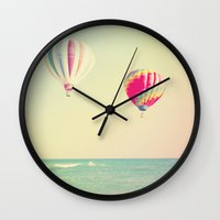 hot air balloons Wall Clocks featuring HOT AIR BALLOONS by The Pixel Gypsy
