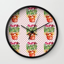 Polka Dots and Pots of Dried Roses Wall Clock