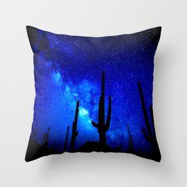 The Milky Way Blue Throw Pillow