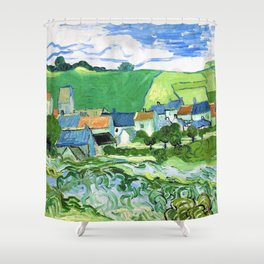12,000pixel-500dpi - Vincent van Gogh - View Of Auvers - Digital Remastered Edition Shower Curtain