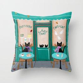 Paris Cafe for Cats Throw Pillow