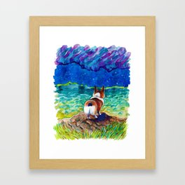 Corgi - sea admirer Framed Art Print