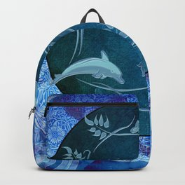 Funny dolphin with flowers Backpack