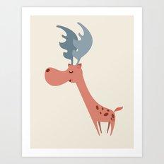 Pink Deer Art Print