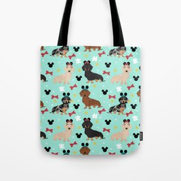 dachshund theme park vacation dogs Tote Bag