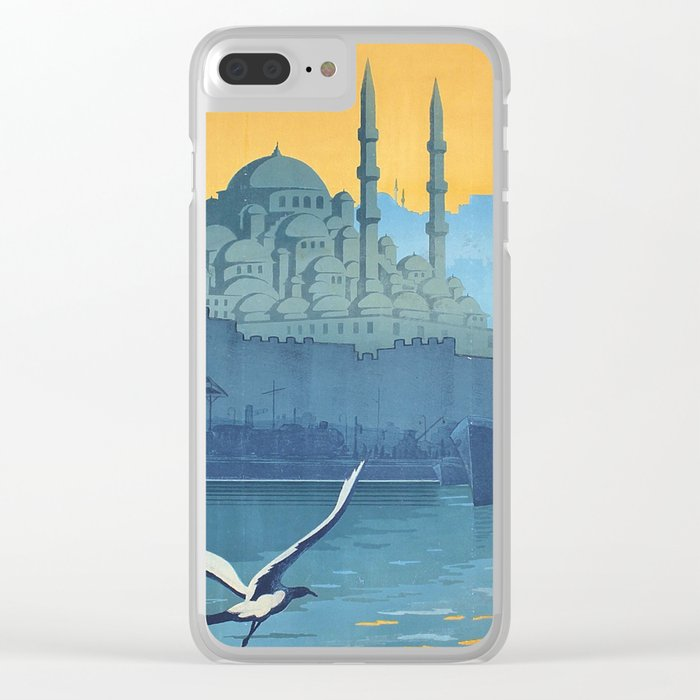 Mid Century Modern Travel Vintage Poster Istanbul Turkey Grand Mosque Clear iPhone Case