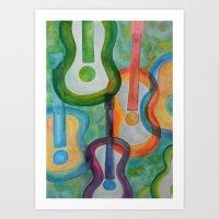 tye dye Art Prints featuring Tye Dye Guitars by Ashley Grebe