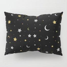 Starry Night Moon and Stars Galaxy Pillow Sham