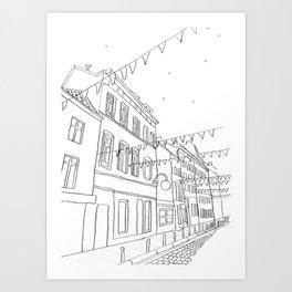 Brussels Street On a Summer Evening Art Print