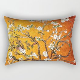 Vincent van Gogh Blossoming Almond Tree (Almond Blossoms) Orange Sky Rectangular Pillow