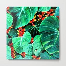 Bright Tropical Jungle Print With Caterpillars Metal Print