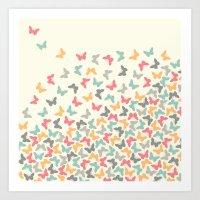 butterflies Art Prints featuring Butterflies by Juste Pixx Designs