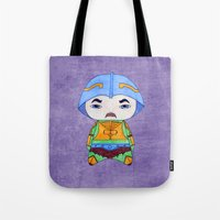 conan Tote Bags featuring A Boy - Man-at-arms by Christophe Chiozzi